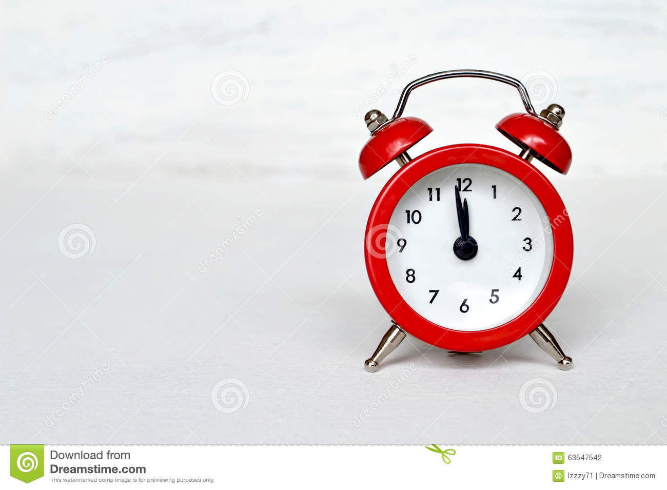 Red Vintage Alarm Clock Striking Midnight (or Midday ...