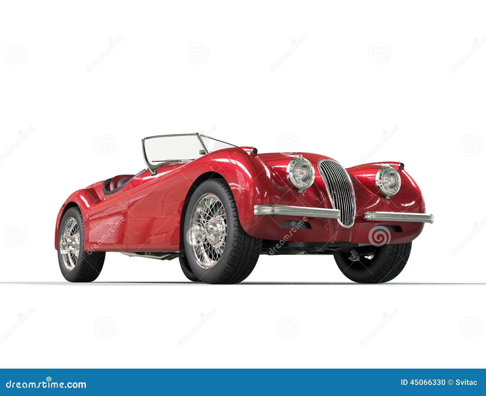 Red Vintage Car On White Background Stock Illustration ...