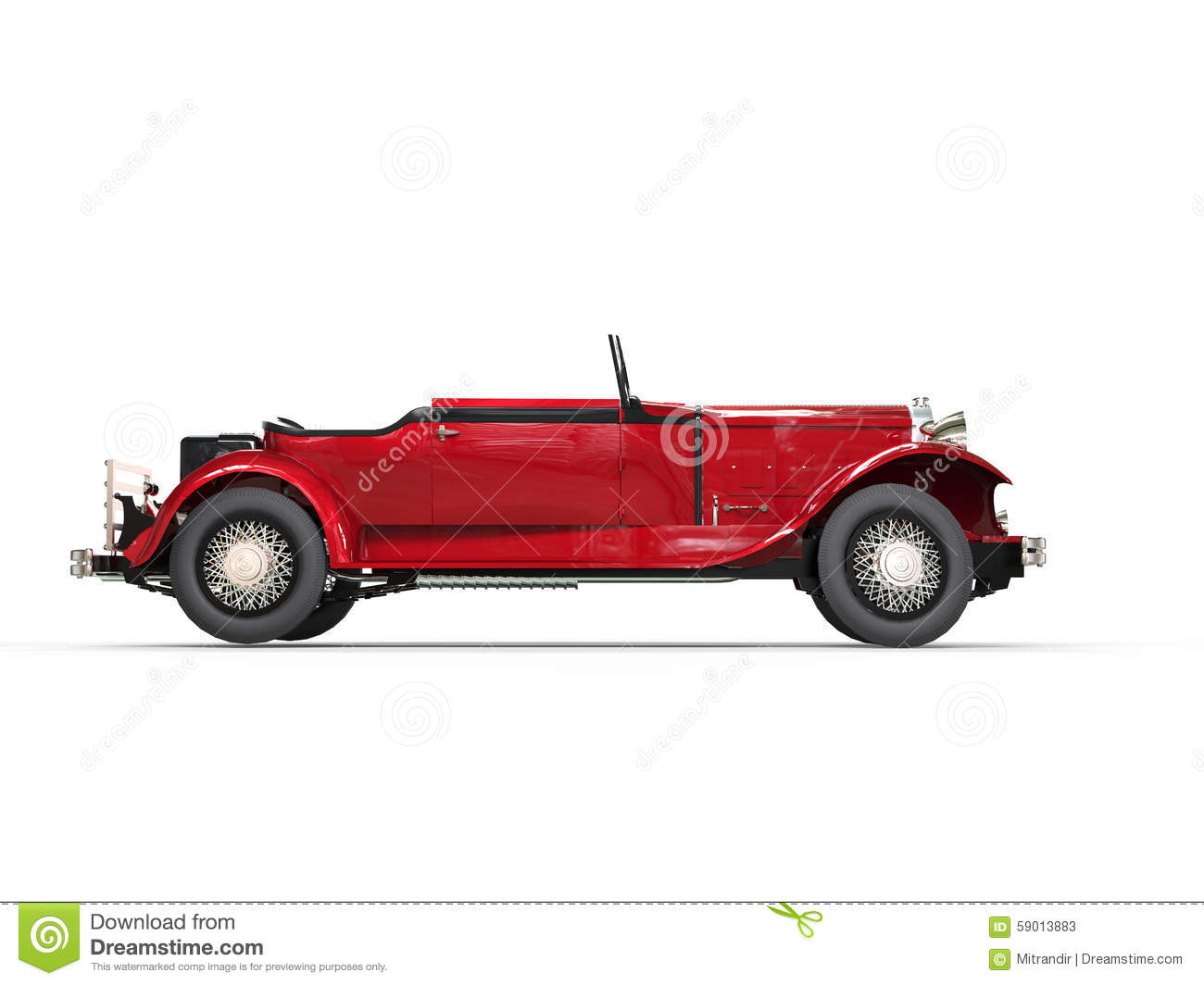 Red Vintage Convertible Car Side View Stock Photo Image