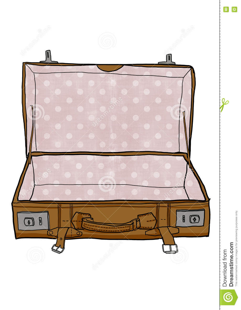 Red Vintage Luggage Suitcases Open Is Empty Cute Illustration Stock