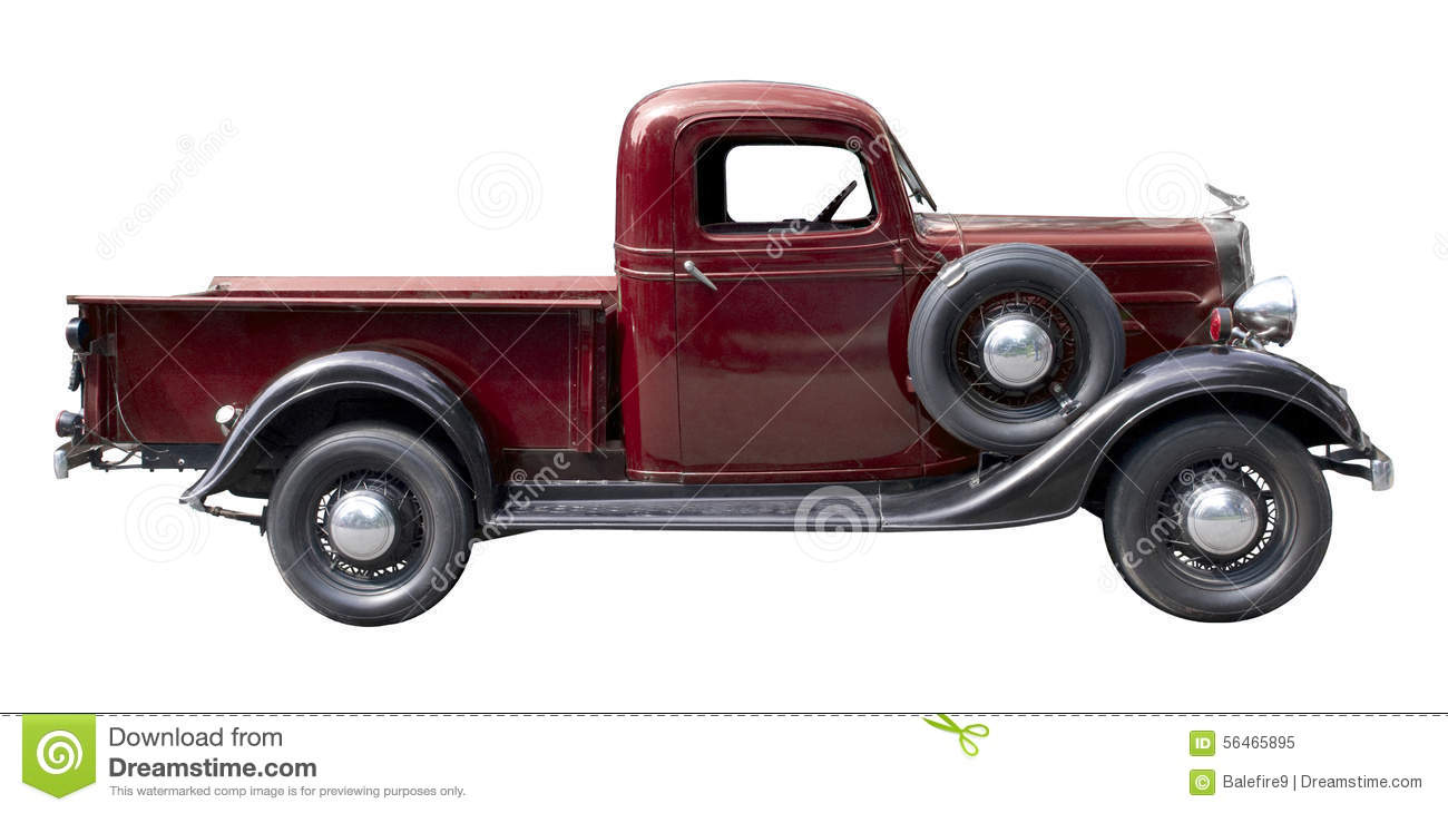 Red Vintage Pickup Truck From 1930s Stock Photo Image