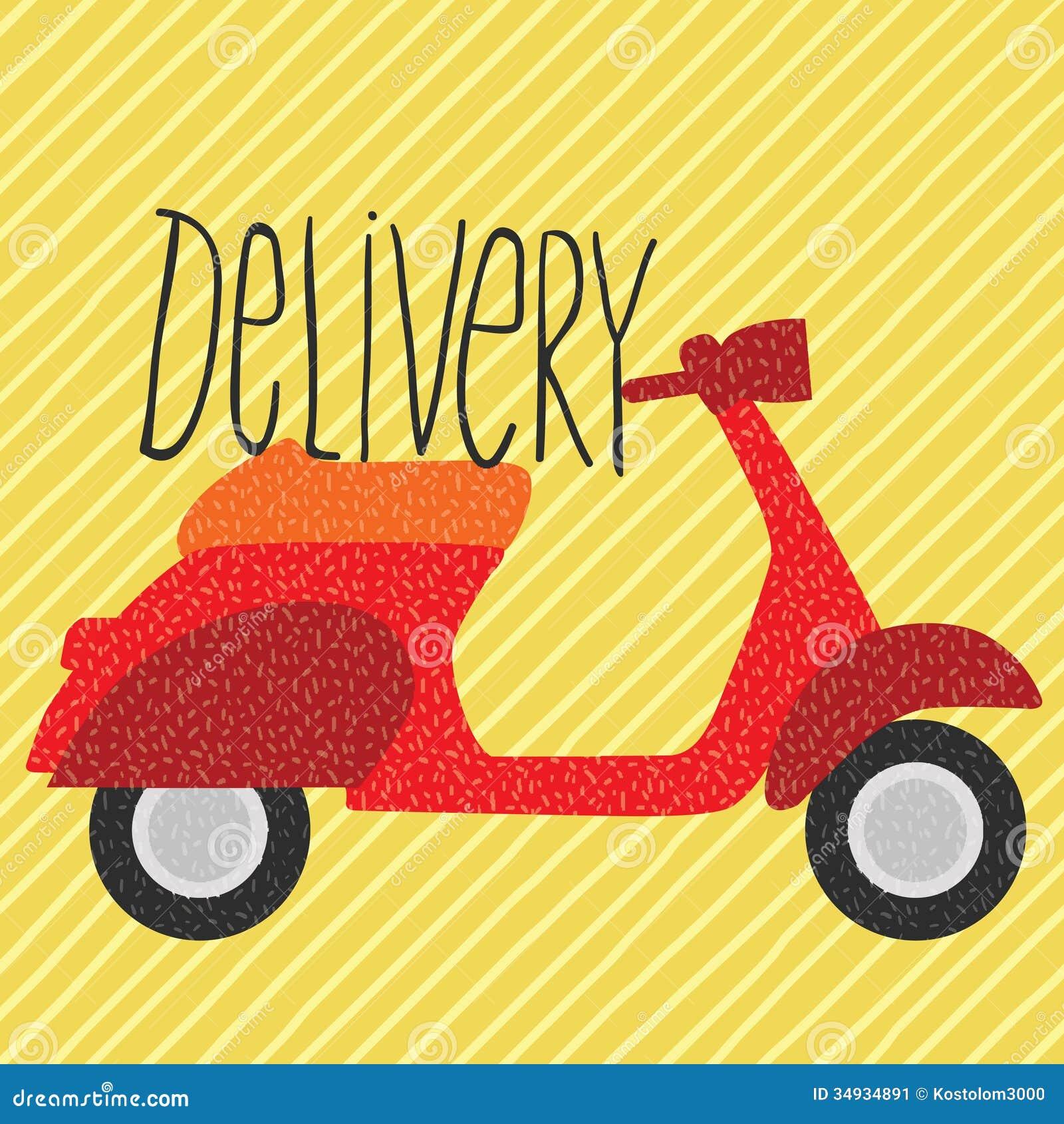 Red Vintage Scooter Delivery Illustration Illustration 34934891 Megapixl