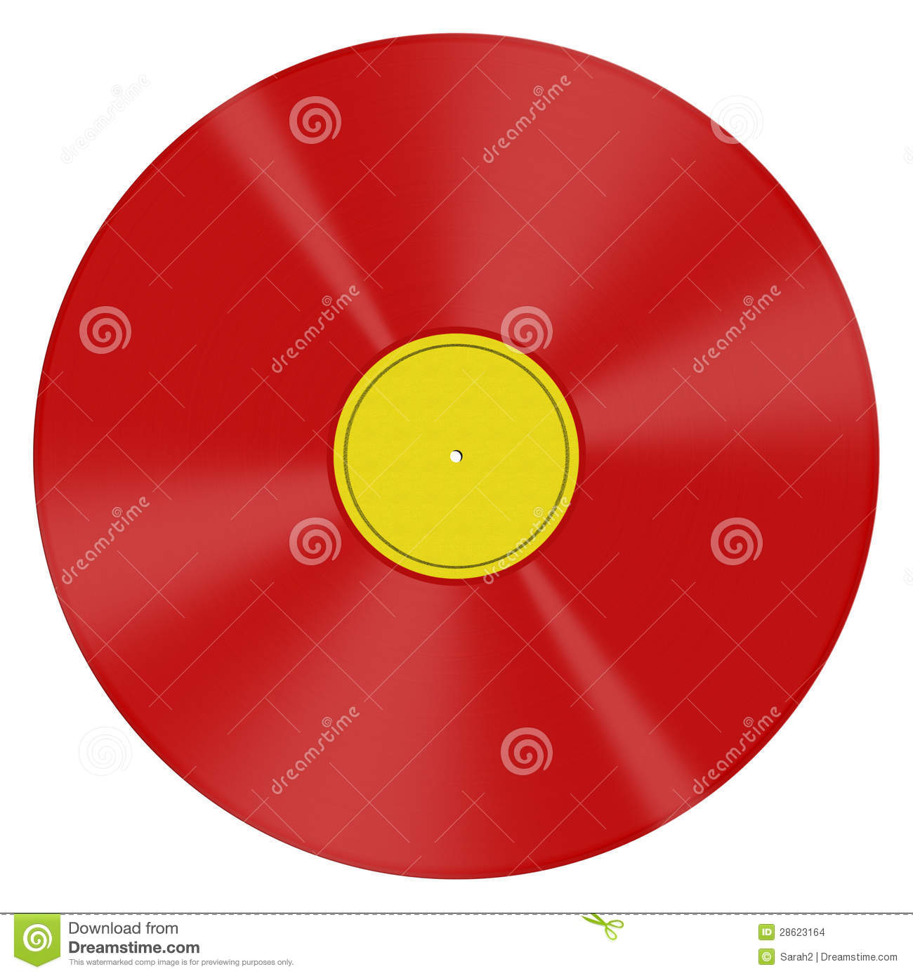 Red Vinyl Lp Isolated Over White Background Stock