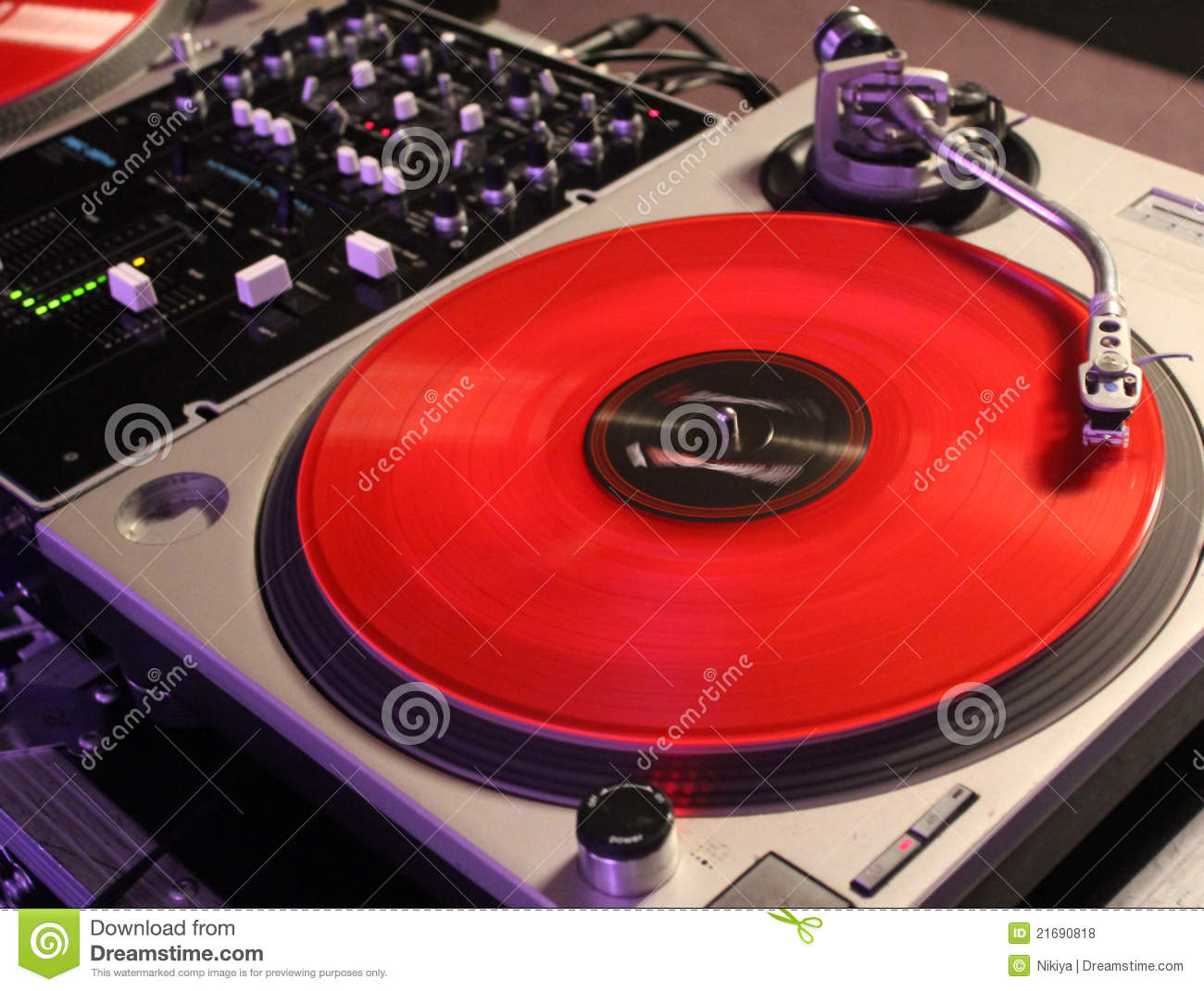 Red Vinyl Record Dj Background Stock Photo Image Of