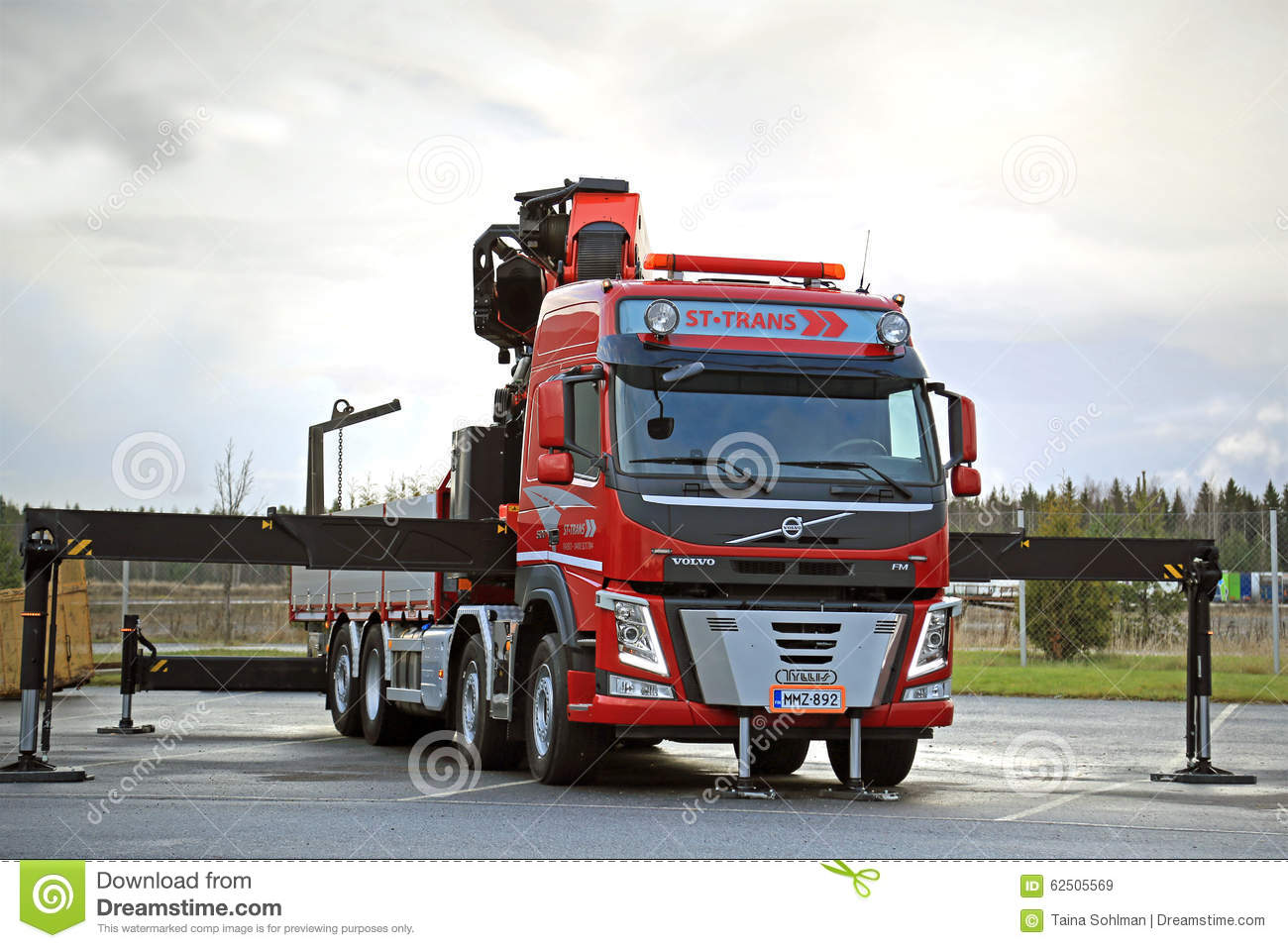 Red Volvo FM Truck Equipped With Heavy Crane Editorial Stock Image - Image of equipment, drive ...