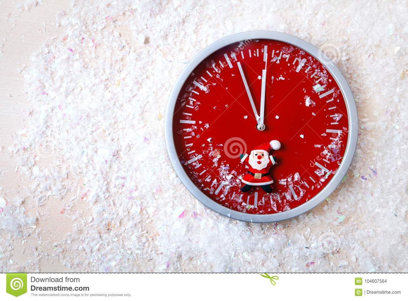 red wall clock white background snow selebration new year stock