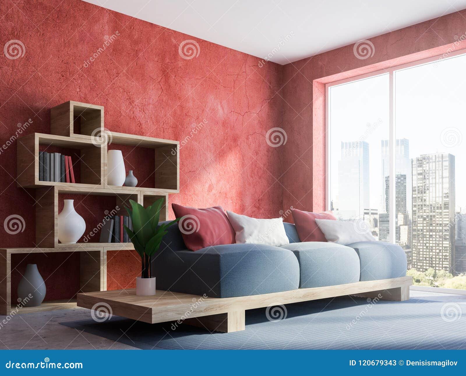 Red Wall Living Room Corner Gray Sofa Stock Illustration