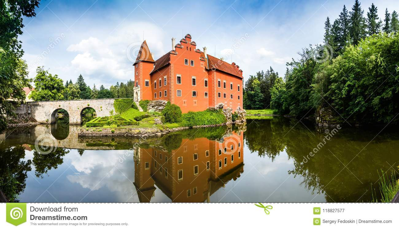 Cervena Lhota - the red, water chateau in the the Czech republic.