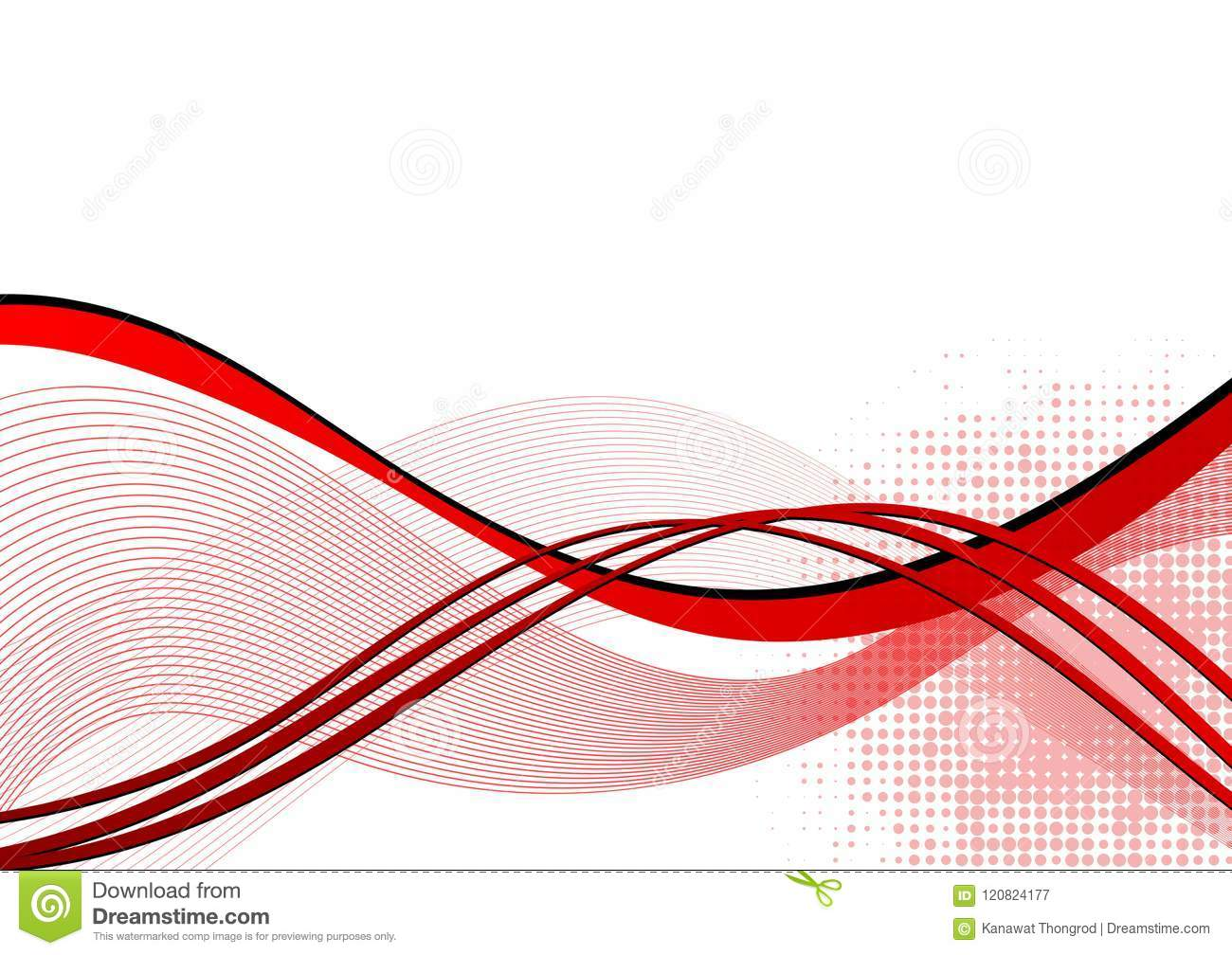 Red wave abstract background with copy space. Vector illustration