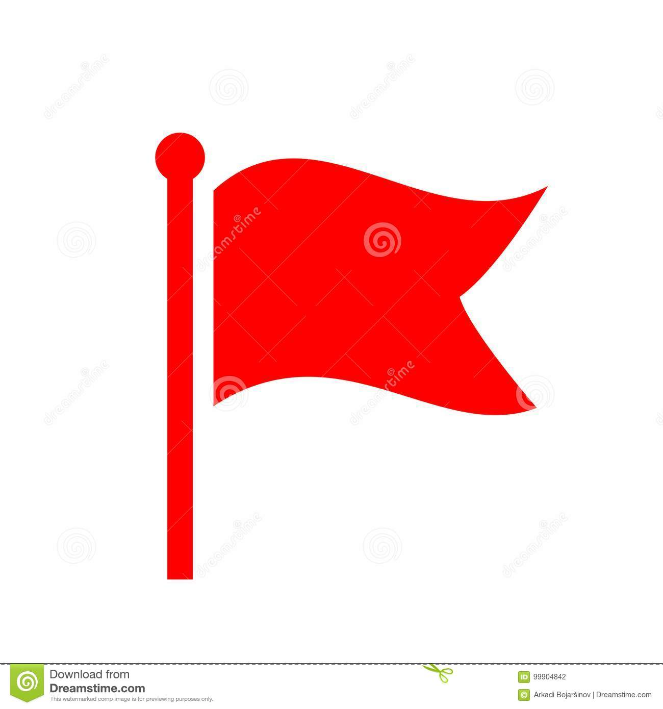 Red Waving Flag Vector Icon Stock Vector - Illustration of isolated