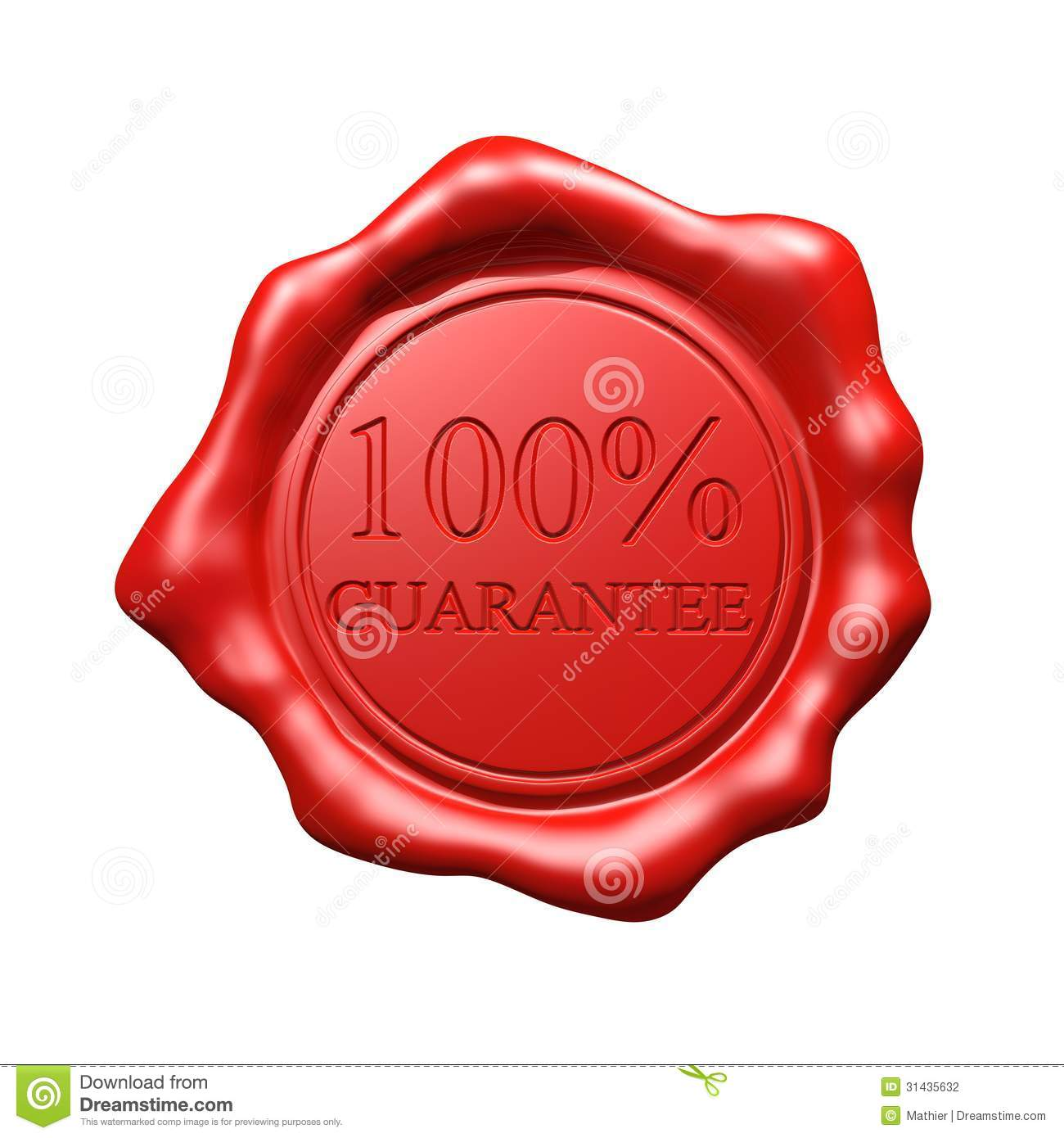 Red Wax Seal - 100% Guarantee - Isolated (white or transparent ...