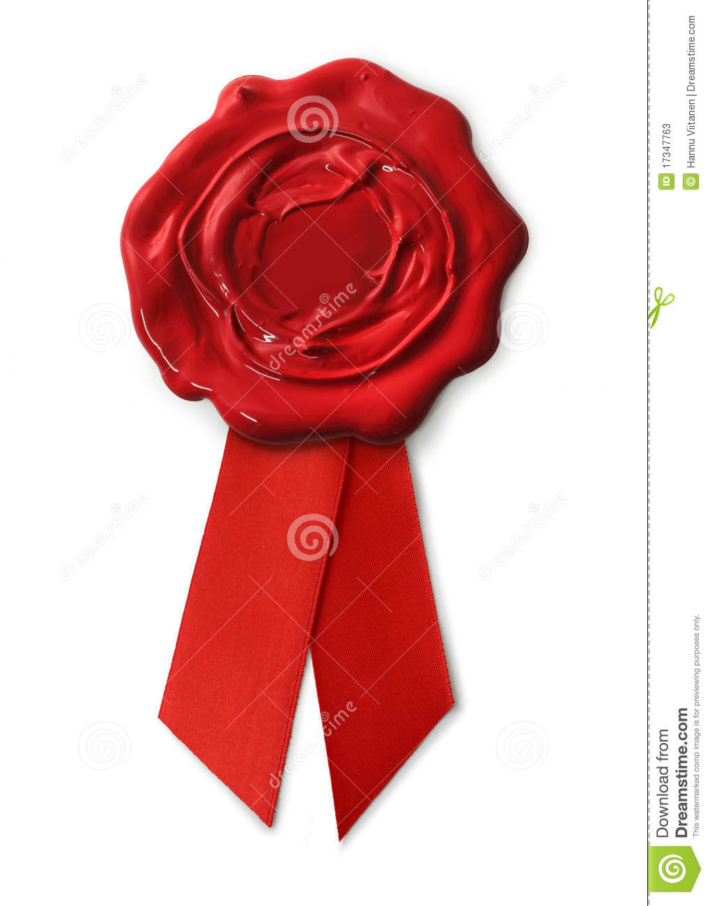 red wax seal with ribbons stock image  image of seal