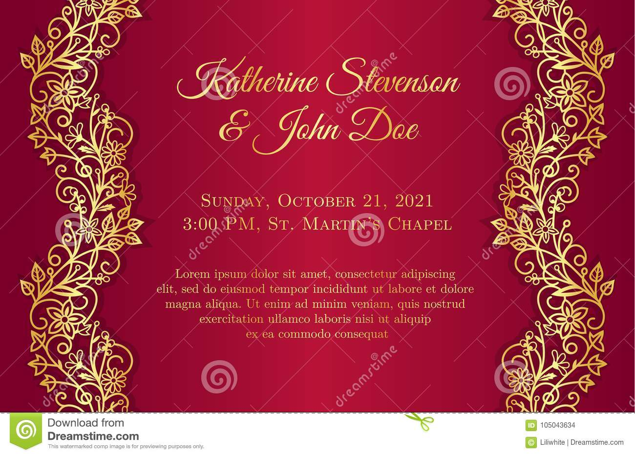Red Wedding Invitation With Golden Floral Borders Stock Vector ...