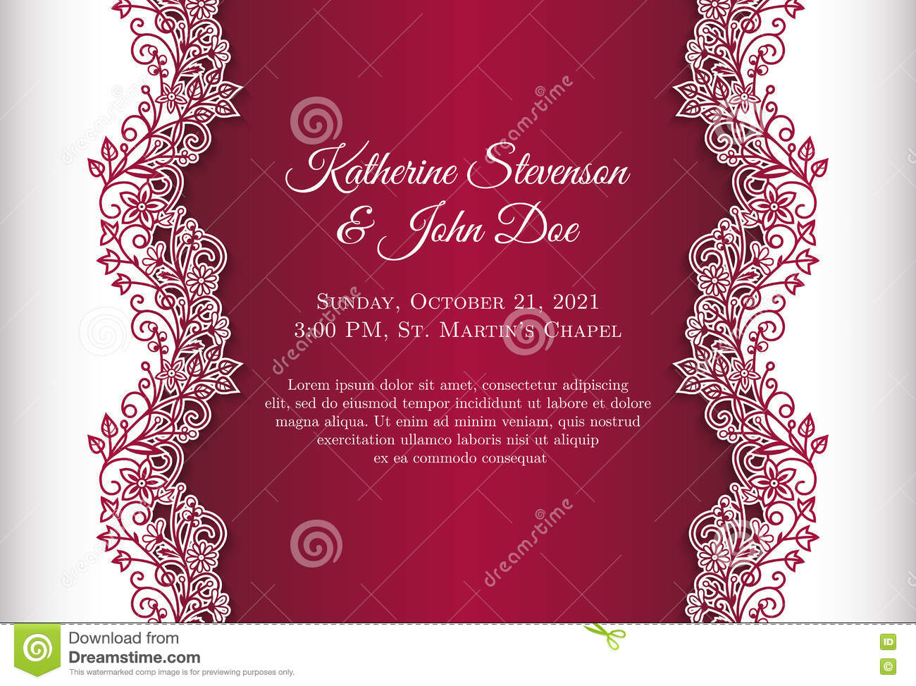Red Wedding Invitation With Luxury Floral Lace Bor Stock Vector ...