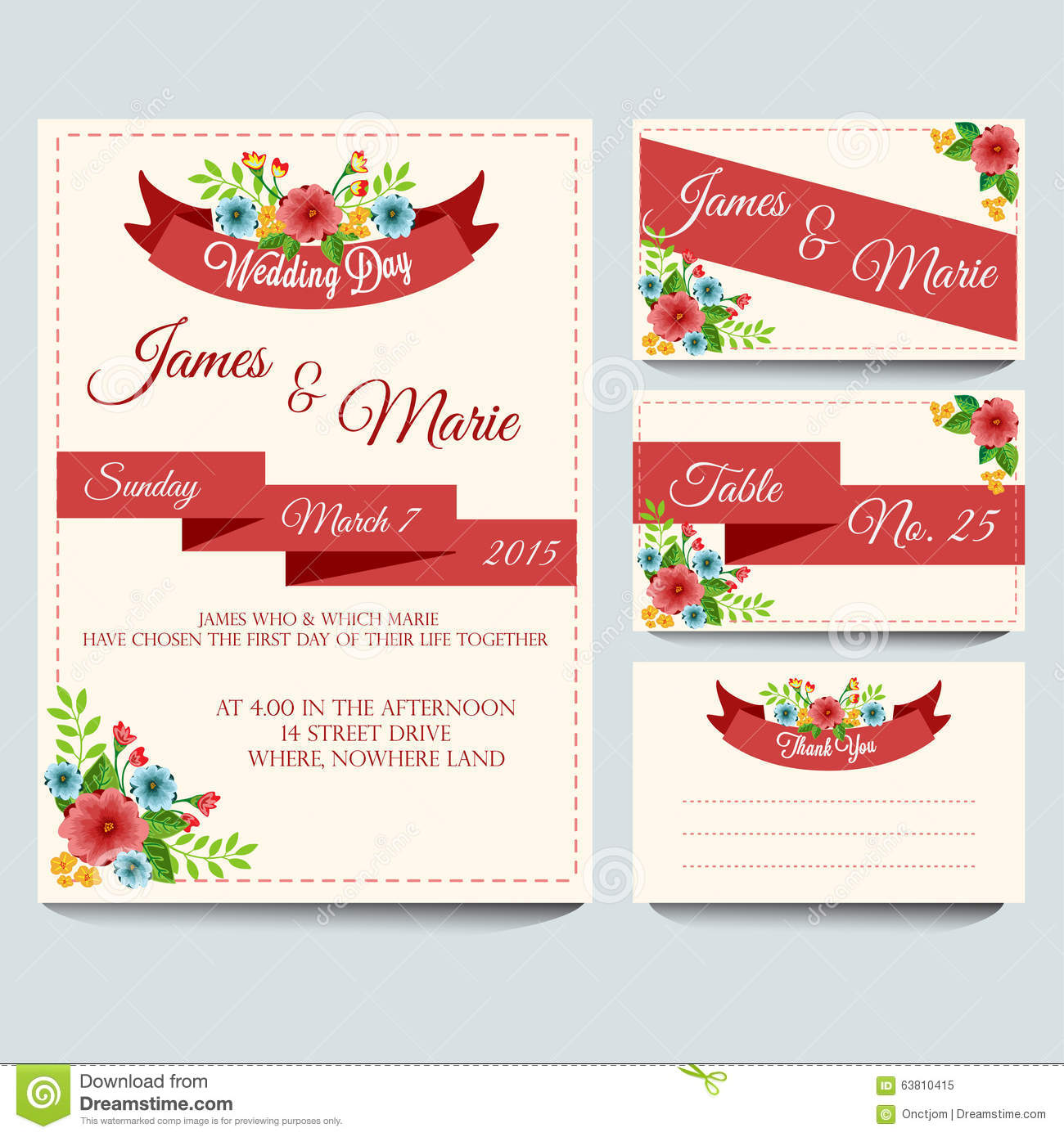 Red Wedding Invitation Pack Stock Vector - Illustration of flower ...