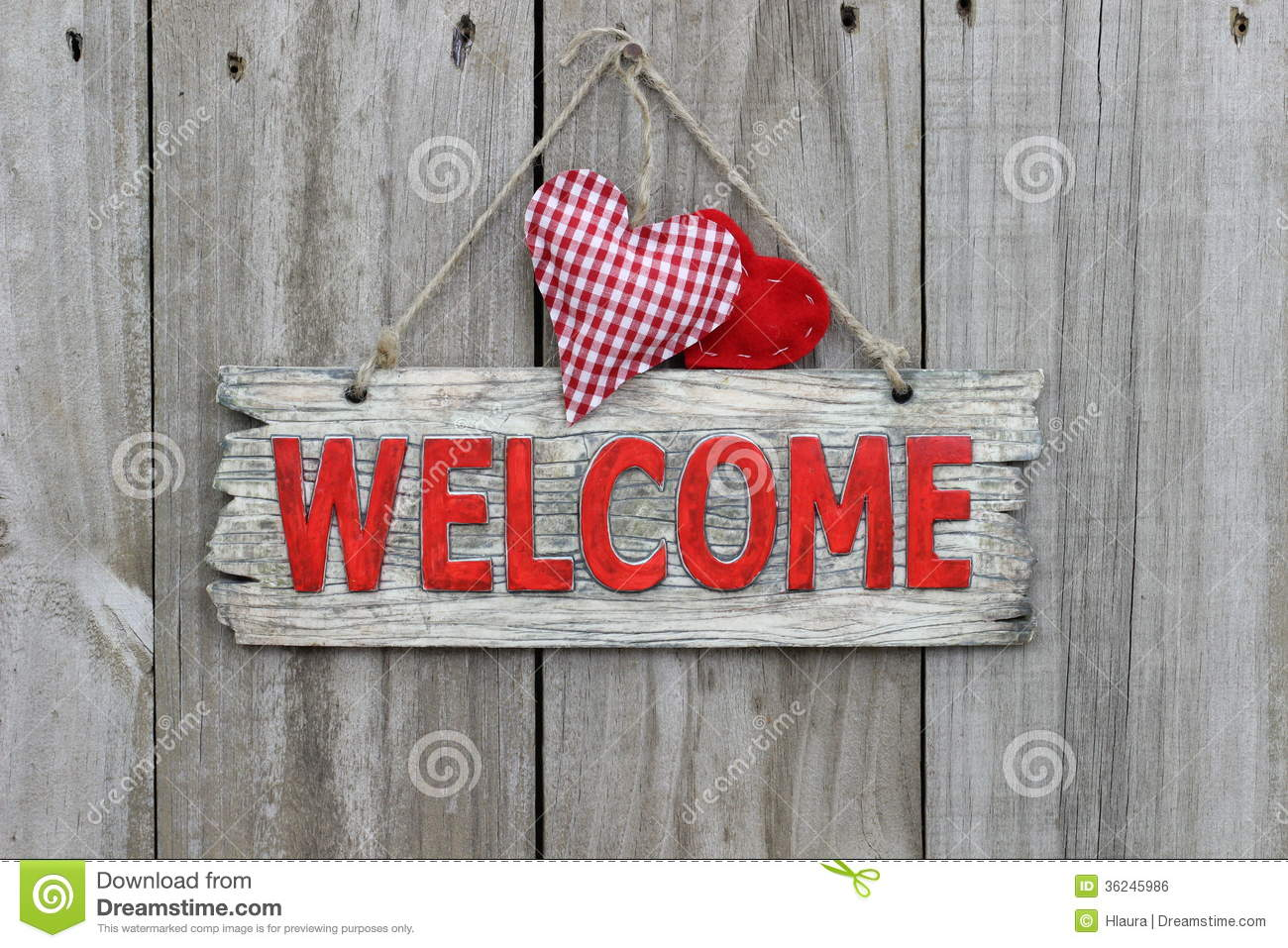Red Welcome Sign Hanging On Wood Door With Gingham Heart Stock ...