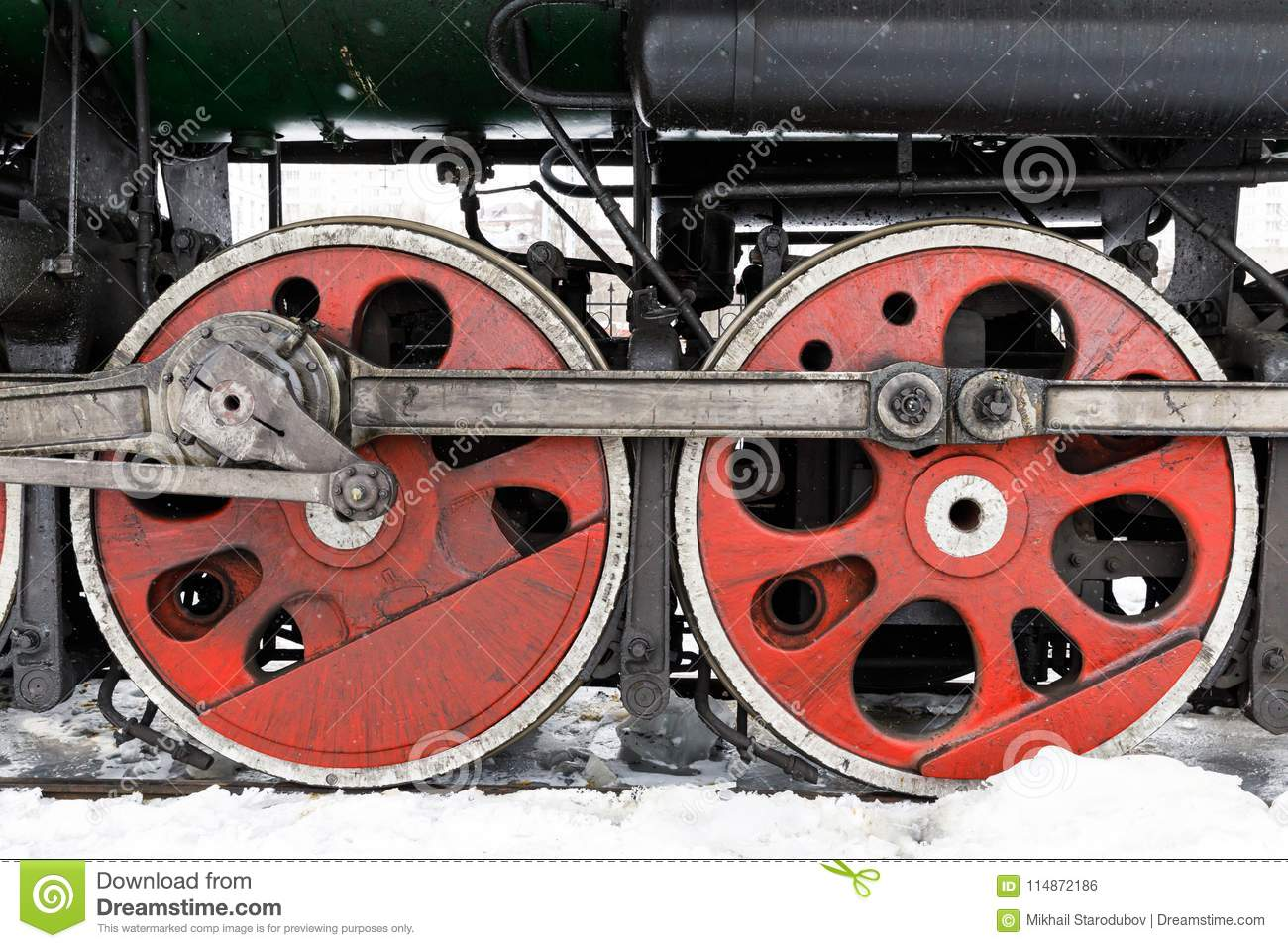 Red Wheel And Detail Of Mechanism A Vintage Russian Steam
