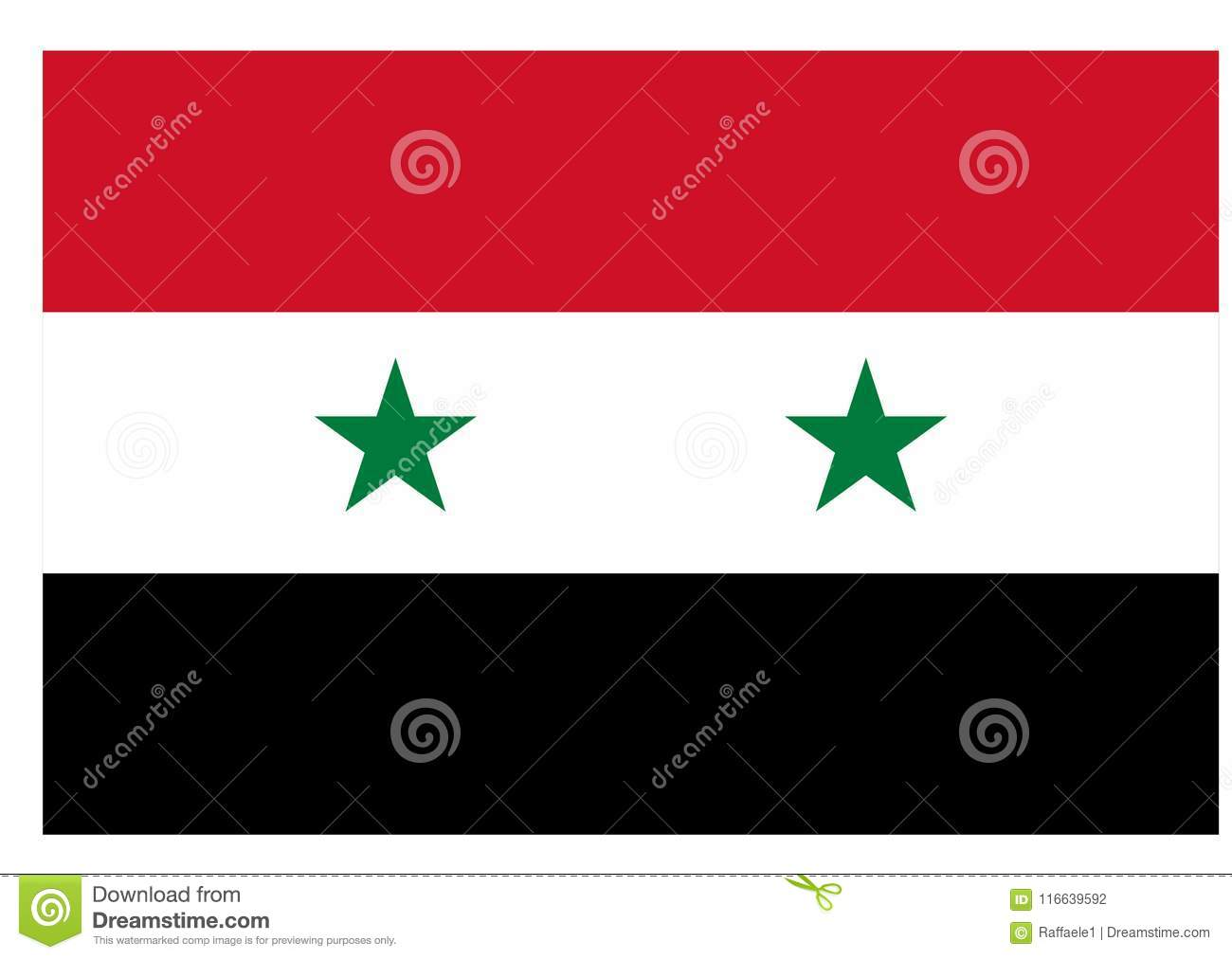 Flag Of Syria Stock Vector Illustration Of Asia Tricolor 116639592