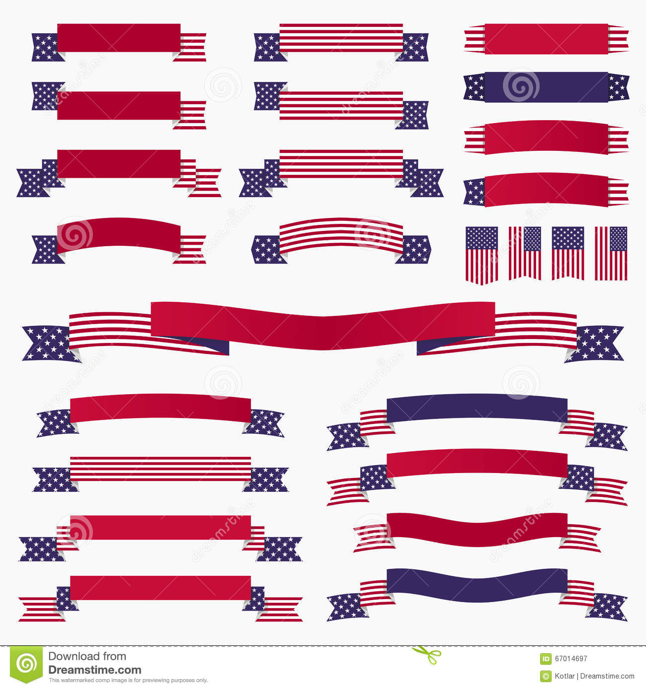 Patriotic Red White Blue Banners Vector Illustration ... - photo#48