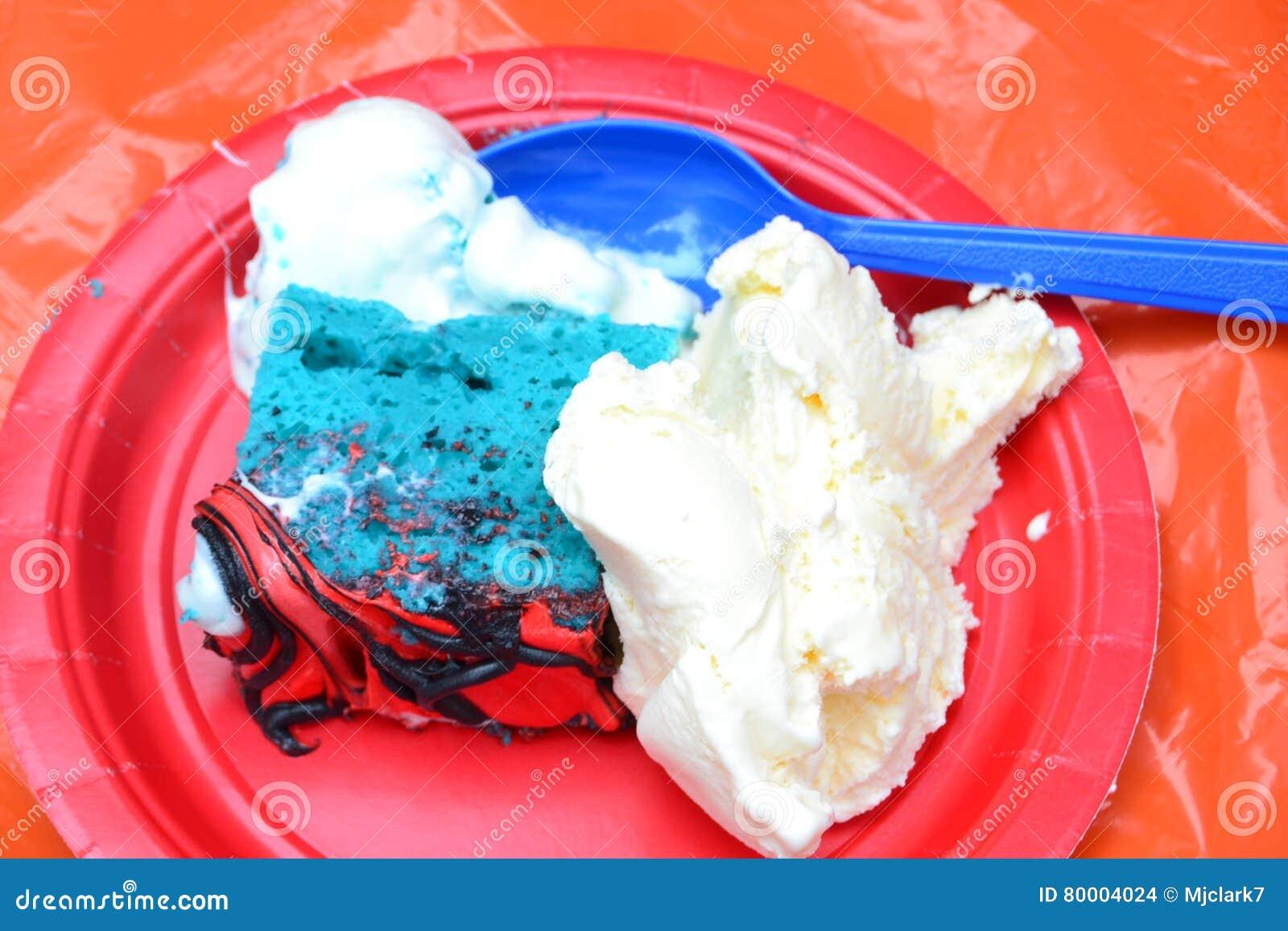 Red White And Blue Birthday Cake And Ice Cream Stock Photo Image