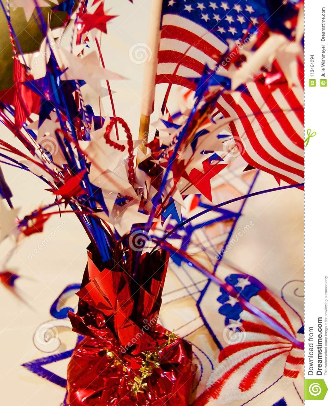 Red White And Blue Centerpiece On A Table Stock Photo Image Of