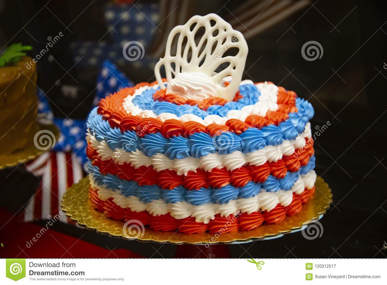 Strange Red White And Blue Patriotic Cake With Bokeh Holiday Decorations Funny Birthday Cards Online Fluifree Goldxyz