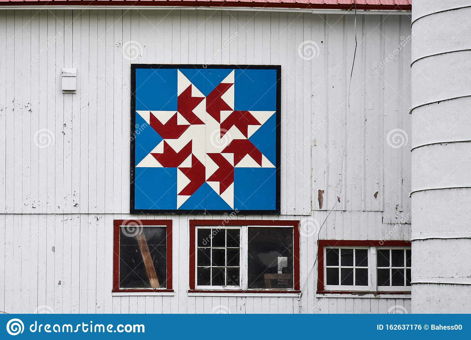 Red, White, And Blue Quilt Barn Stock Photo - Image of ...