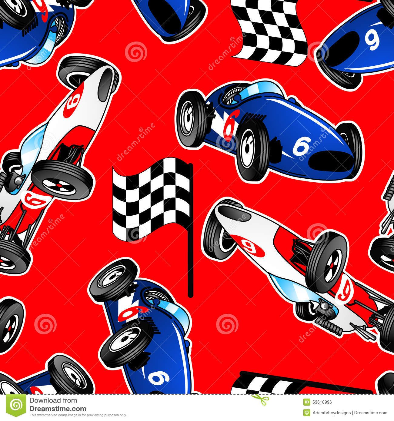 red white and blue racing cars seamless pattern stock vector image 53610996. Black Bedroom Furniture Sets. Home Design Ideas