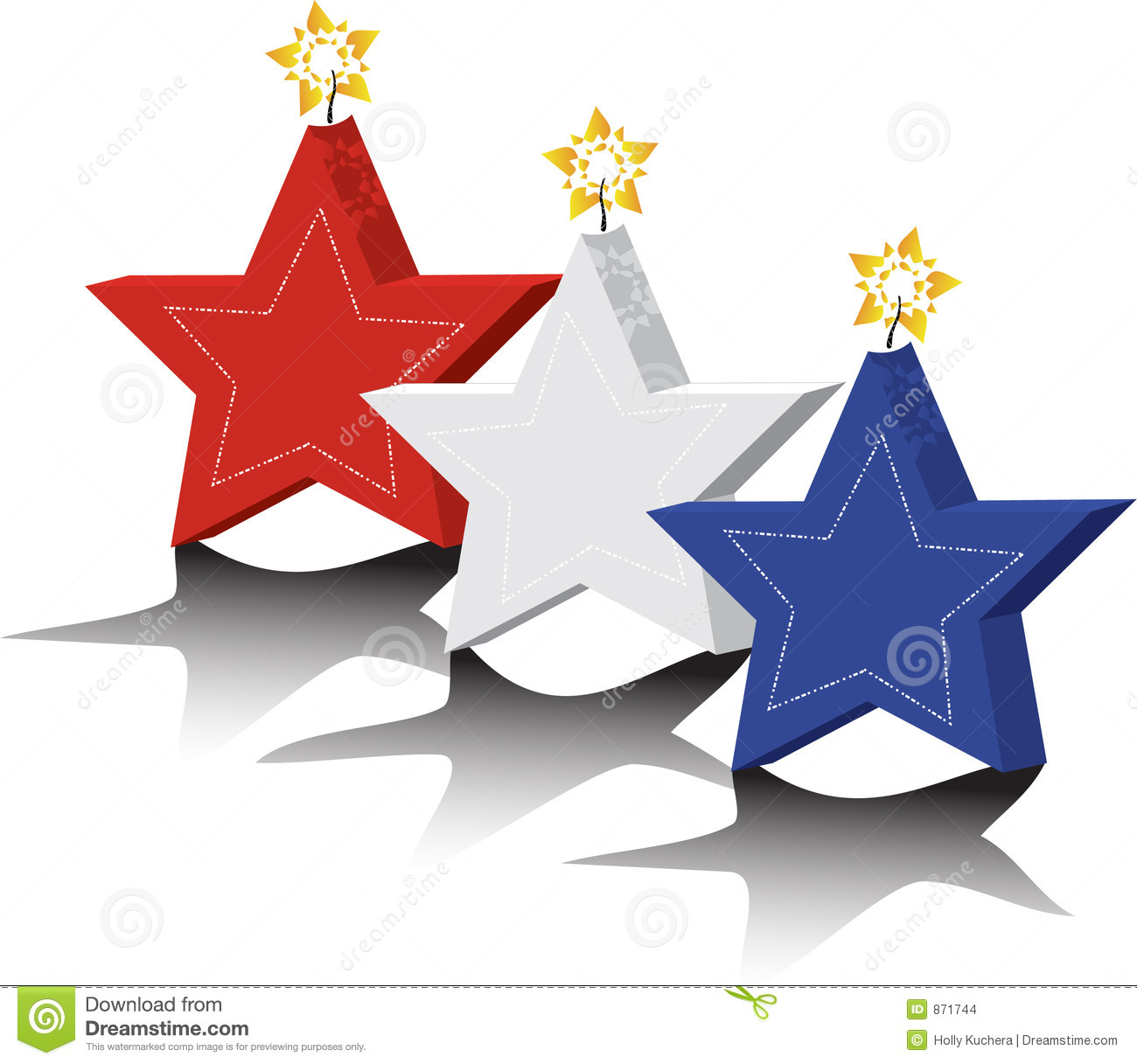 Red White And Blue Star Candles Stock Vector Illustration Of Line