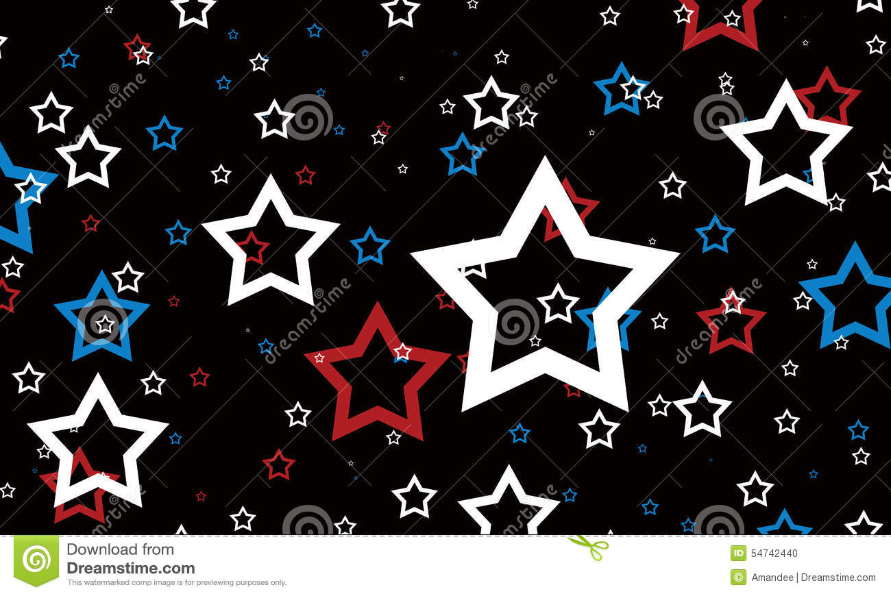 Red White And Blue Stars On Black Background. July 4th ... - photo#21