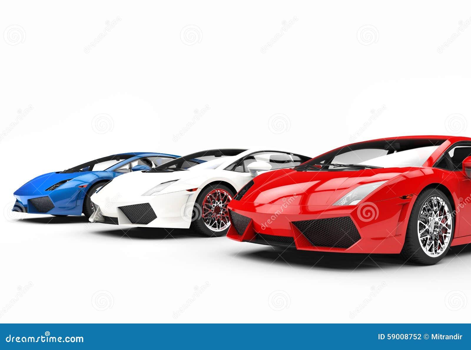 red white and blue supercars stock illustration illustration of bling motor 59008752. Black Bedroom Furniture Sets. Home Design Ideas