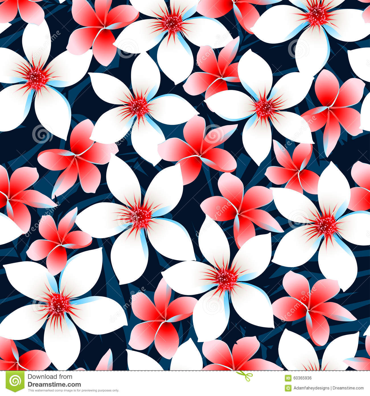 Red white and blue tropical flowers seamless pattern stock vector red white and blue tropical flowers seamless pattern izmirmasajfo Gallery