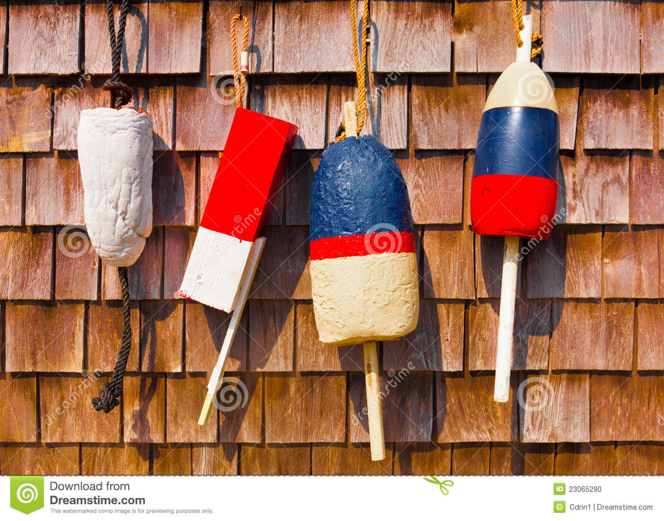 Red White And Blue Vintage Fishing Buoys Stock Photo ...