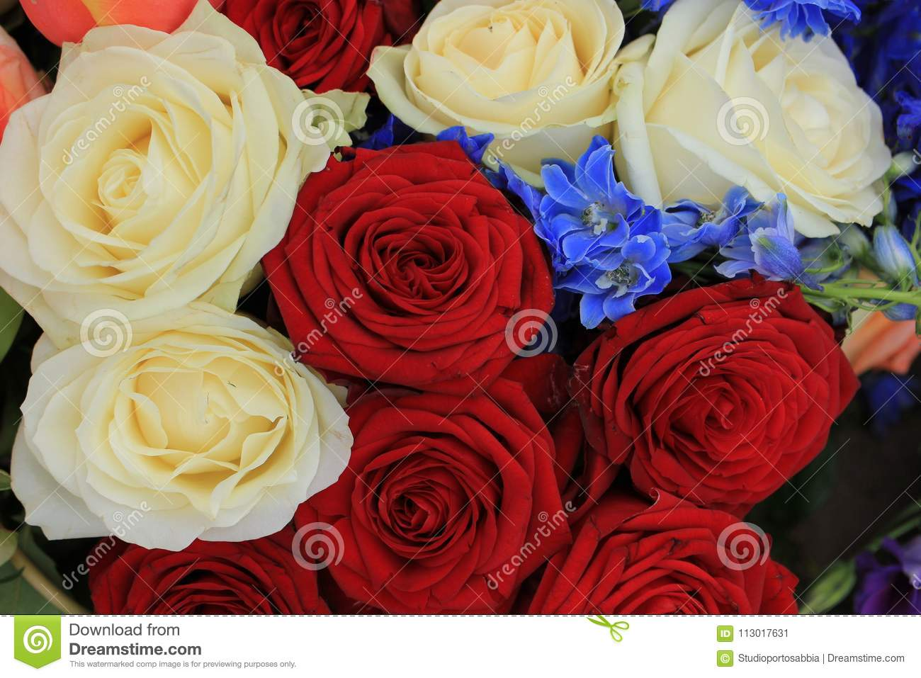 Red White And Blue Wedding Flowers Stock Image Image Of Wedding