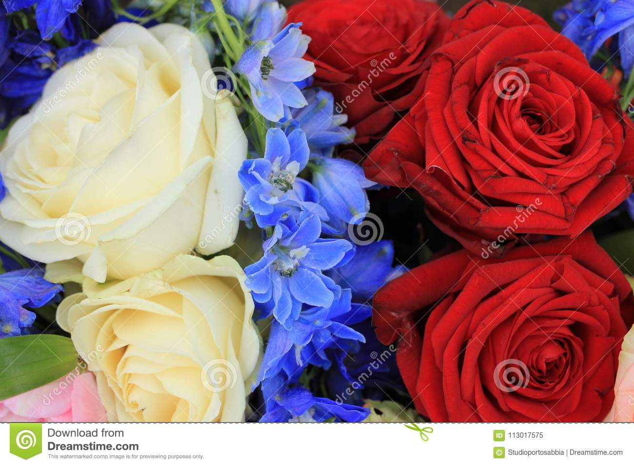 Red White And Blue Wedding Flowers Stock Image Image Of Bridal