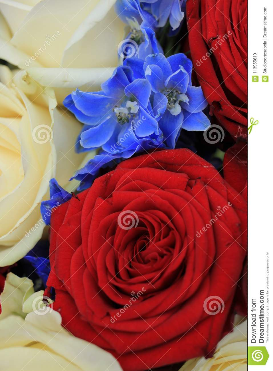 Red White And Blue Wedding Flowers Stock Photo Image Of