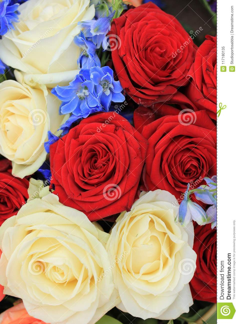 Red White And Blue Wedding Flowers Stock Image Image Of Blue