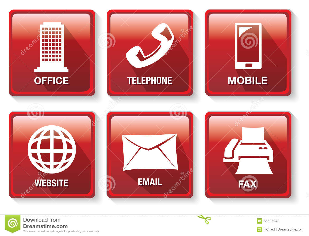 red and white business contact method vector icon button set stock vector