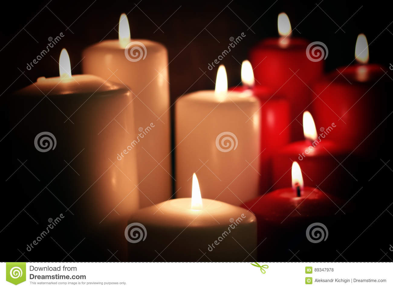 Red White Candle Stock Photo Image Of Blue Festive 89347978