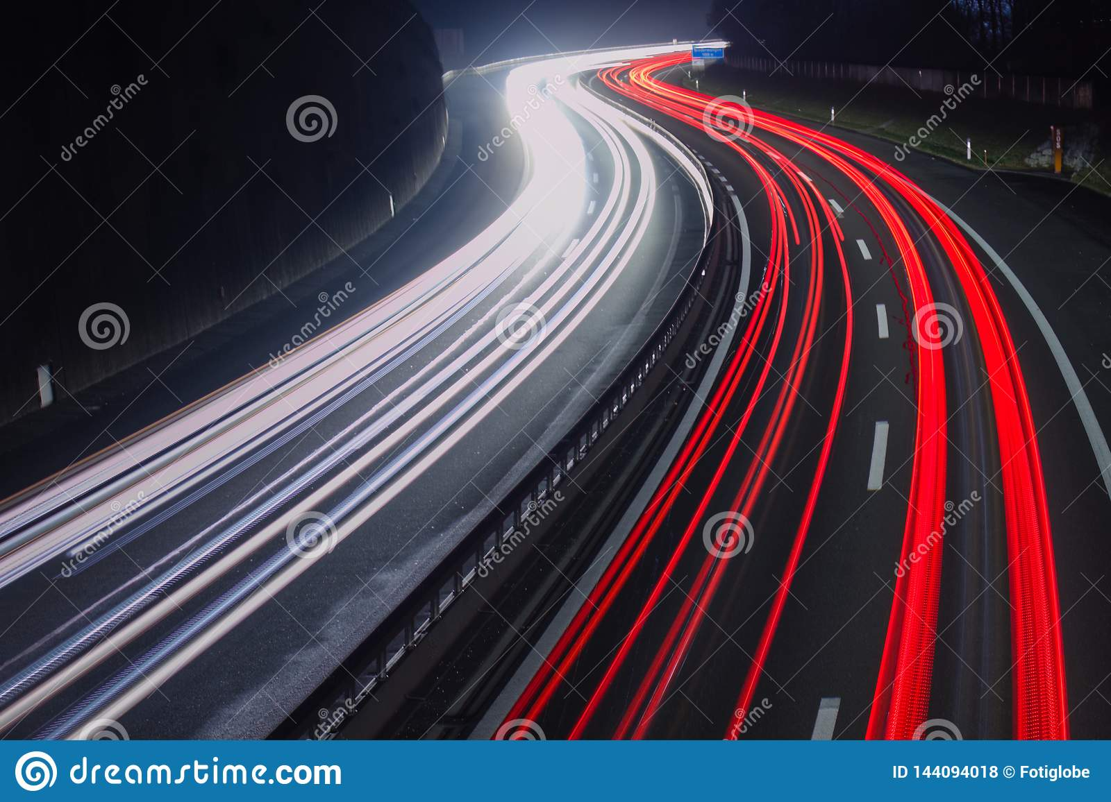 Red and white car light trails