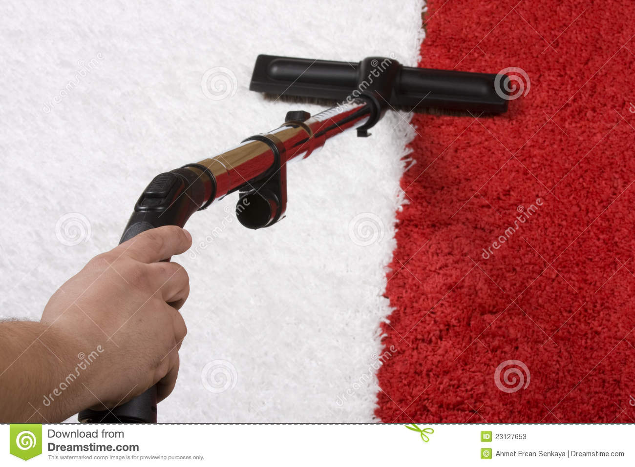 Red and White Carpet cleaning