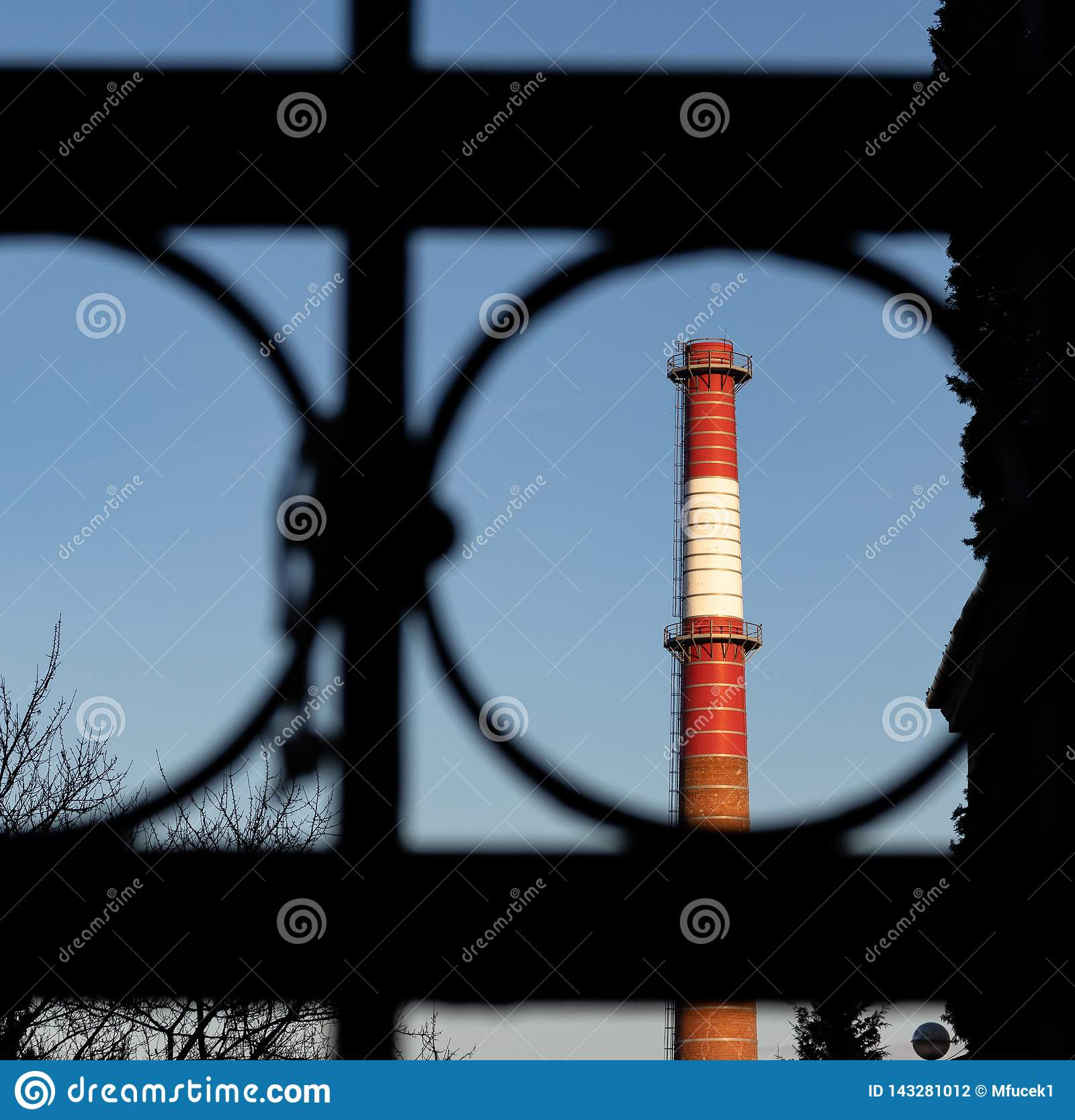 Red And White Chimney Of Power Plant Factory