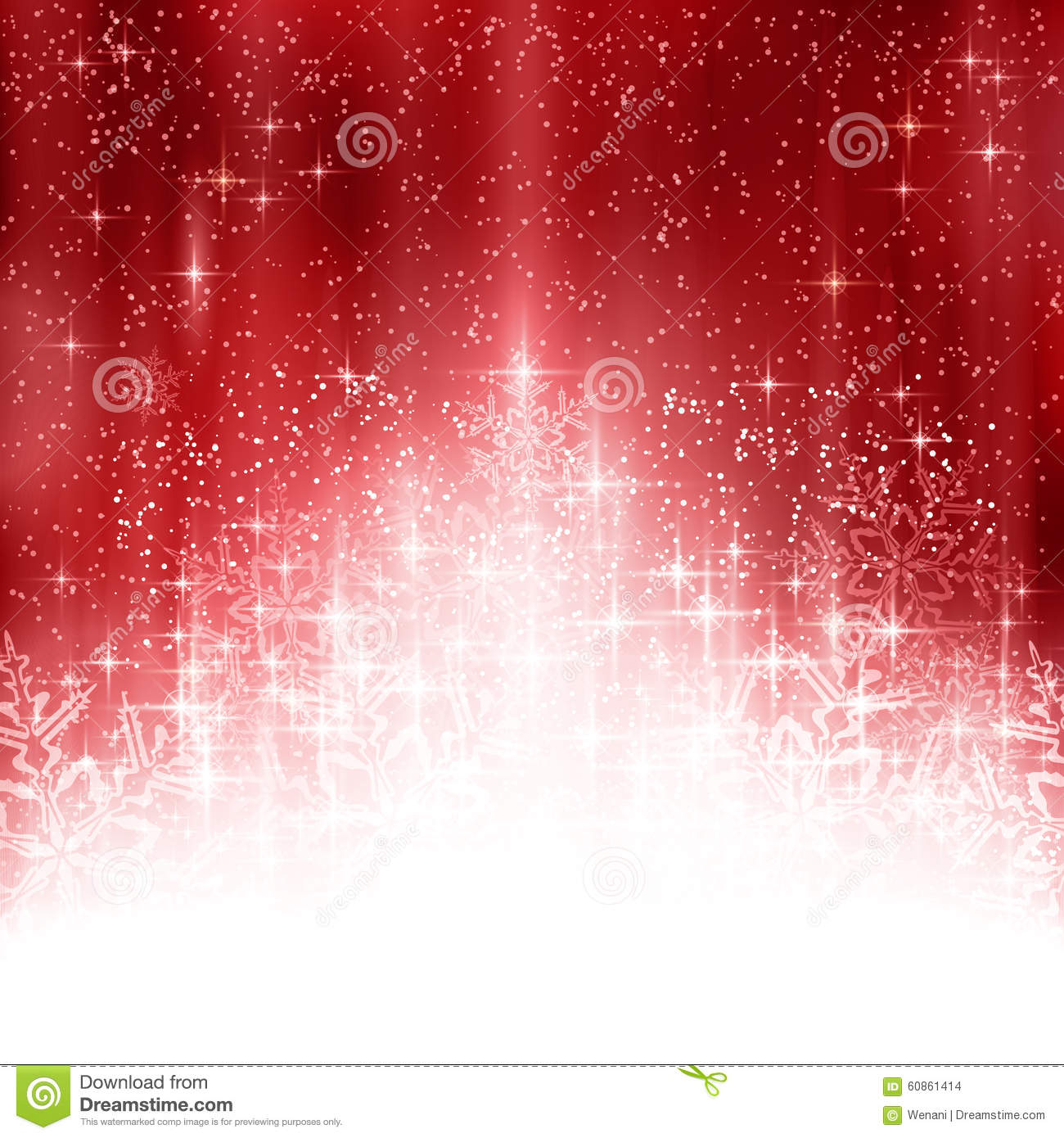 Red White Christmas Background With Lights And Snowflakes ...