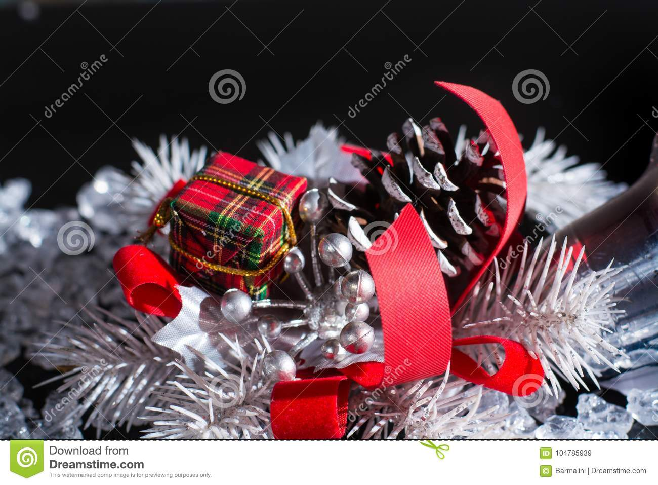 download red and white christmas decoration close up on black backgroun stock image