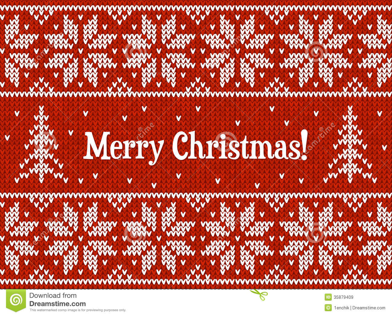 Knitting Patterns For Christmas Cards : Red And White Christmas Knit Greeting Card Royalty Free Stock Images - Image:...