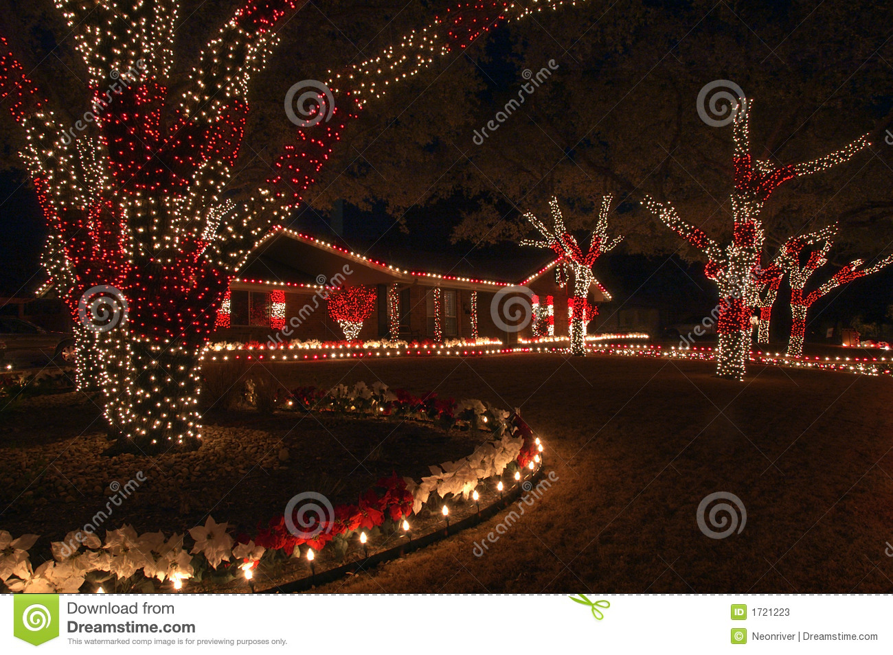 Red and white holiday lights is the color theme for this home and yard duyqyFuG