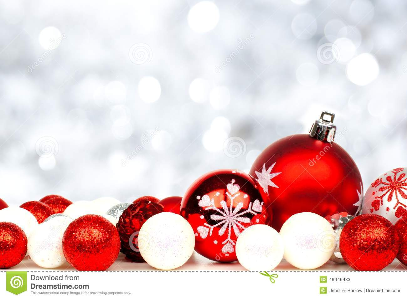 Red and white christmas decorations - Red And White Christmas Ornament Border Stock Photos