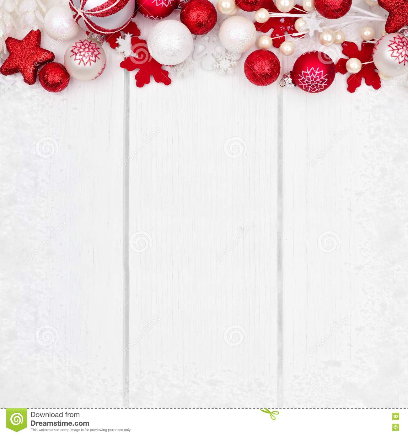 Christmas Top Border.Red And White Christmas Ornament Top Border Over White Wood