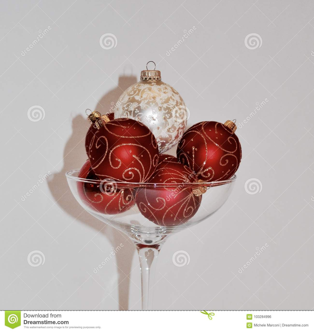 download christmas ornaments in over sized champagne glass stock photo image of glass
