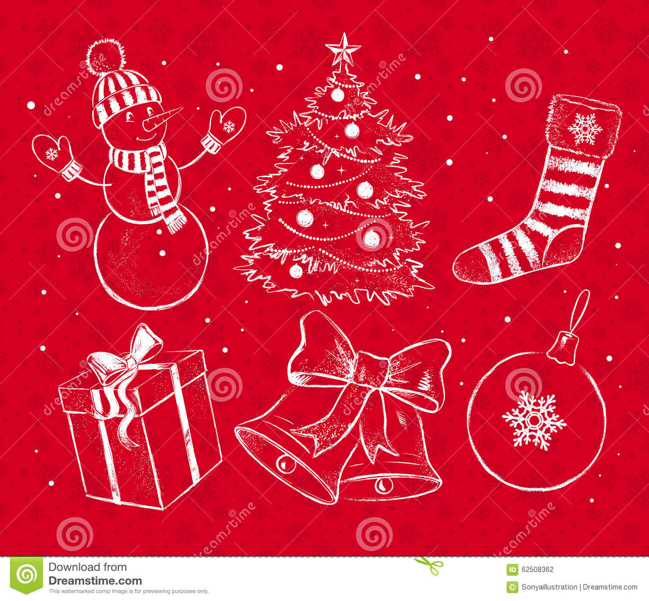 Red and white christmas set stock vector image 62508362 for Christmas red and white